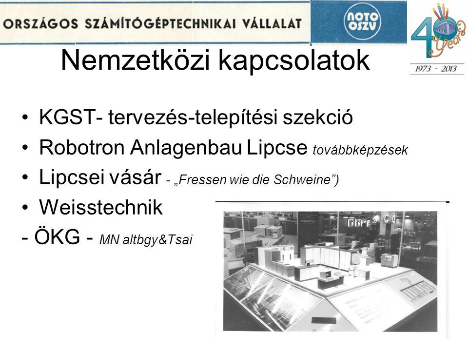 """Nemzetközi kapcsolatok •KGST- tervezés-telepítési szekció •Robotron Anlagenbau Lipcse továbbképzések •Lipcsei vásár - """"Fressen wie die Schweine"""") •Wei"""