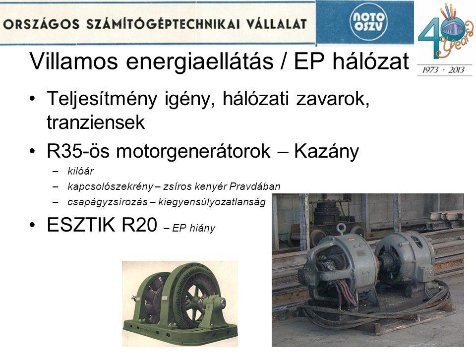 Villamos energiaellátás / EP hálózat •Teljesítmény igény, hálózati zavarok, tranziensek •R35-ös motorgenerátorok – Kazány –kilóár –kapcsolószekrény –