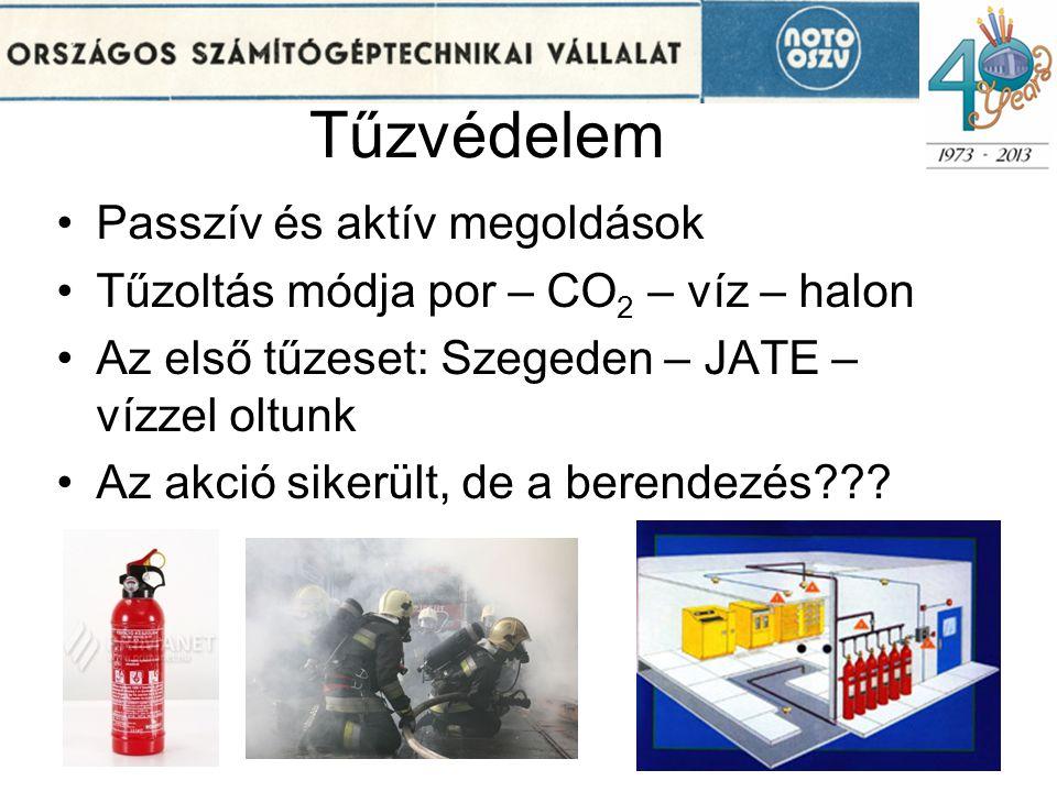 Tűzvédelem •Passzív és aktív megoldások •Tűzoltás módja por – CO 2 – víz – halon •Az első tűzeset: Szegeden – JATE – vízzel oltunk •Az akció sikerült,