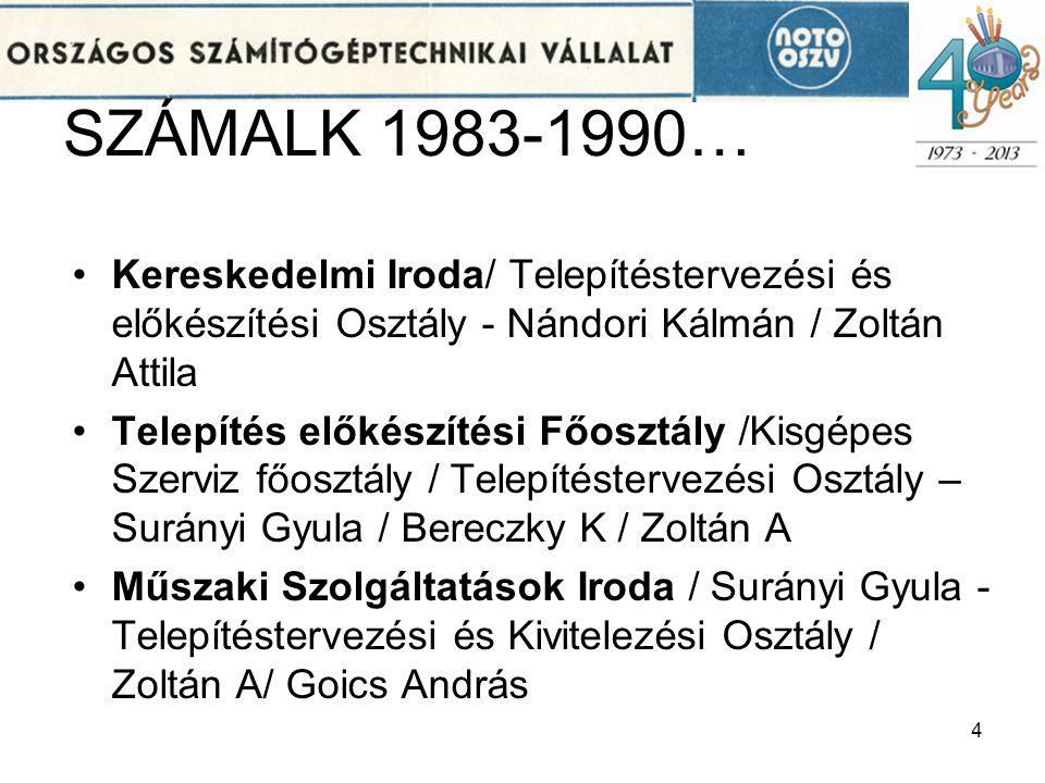 SZÁMALK 1983-1990… •Kereskedelmi Iroda/ Telepítéstervezési és előkészítési Osztály - Nándori Kálmán / Zoltán Attila •Telepítés előkészítési Főosztály