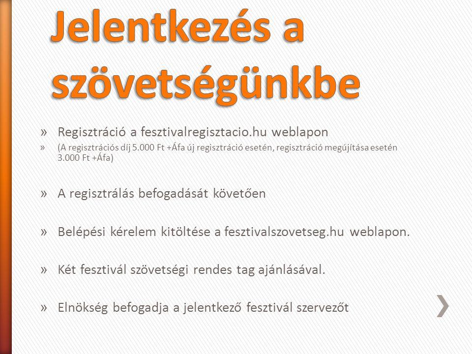 » Regisztráció a fesztivalregisztacio.hu weblapon » (A regisztrációs díj 5.000 Ft +Áfa új regisztráció esetén, regisztráció megújítása esetén 3.000 Ft