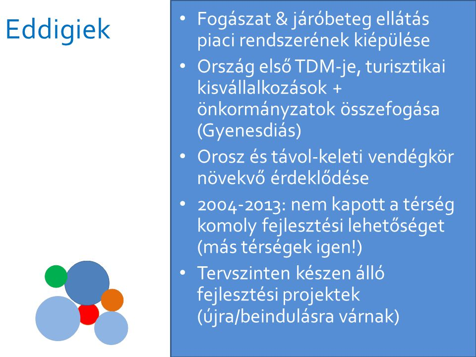 Eddigiek • Fogászat & járóbeteg ellátás piaci rendszerének kiépülése • Ország első TDM-je, turisztikai kisvállalkozások + önkormányzatok összefogása (