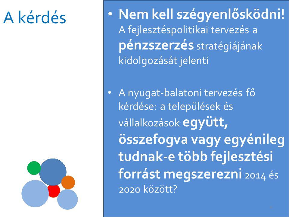 • Közös térségi fejlesztési programot megfogalmazva gyaníthatóan több fejlesztési forrást lehet szerezni az Uniótól és a Kormánytól, mint települési vagy vállalkozási keretekben egyénileg lobbizva (lásd Tokaj-Hegyalja, Ős- Dráva program) • Mivel és miként lehet meggyőzni a kormányzatot a fejlesztések szükségességéről.