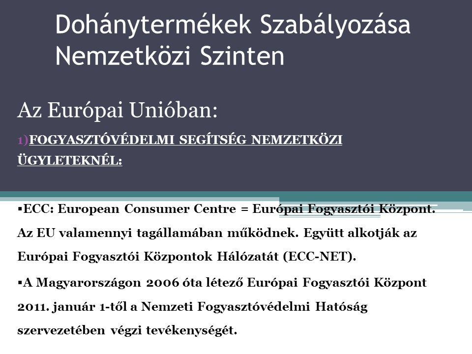 Dohánytermékek Szabályozása Nemzetközi Szinten Az Európai Unióban: 1)FOGYASZTÓVÉDELMI SEGÍTSÉG NEMZETKÖZI ÜGYLETEKNÉL:  ECC: European Consumer Centre
