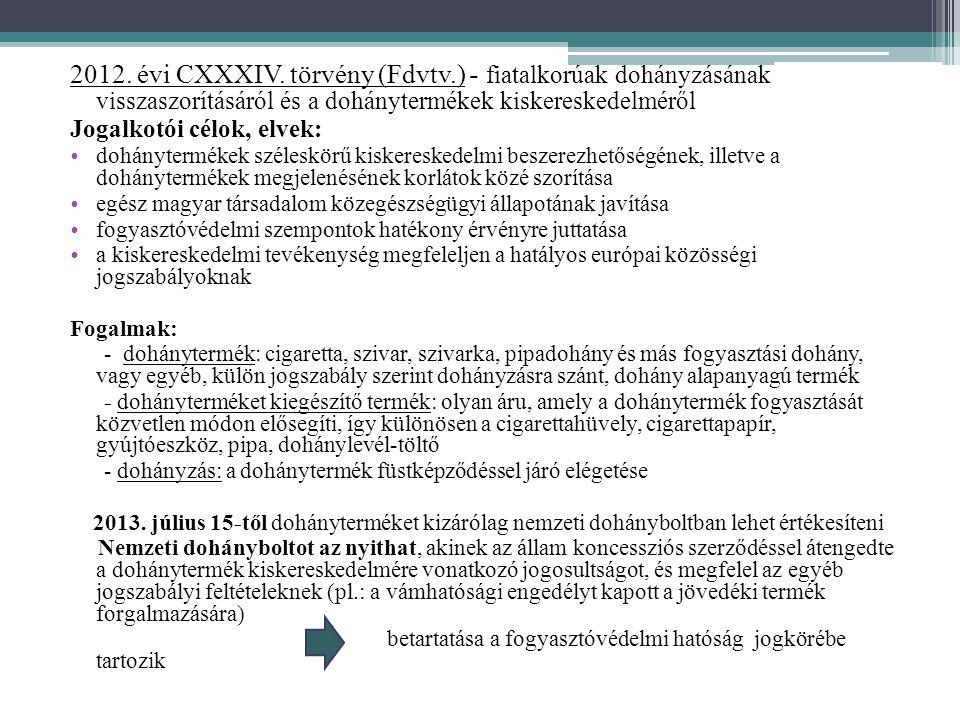 2012. évi CXXXIV. törvény (Fdvtv.) - fiatalkorúak dohányzásának visszaszorításáról és a dohánytermékek kiskereskedelméről Jogalkotói célok, elvek: • d