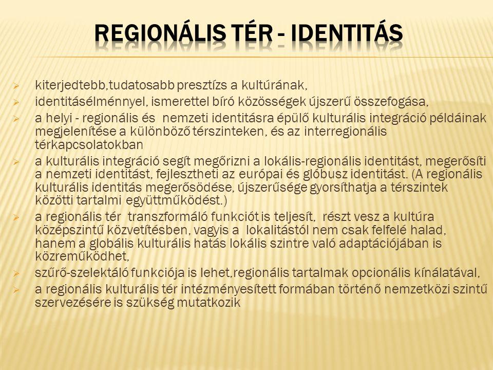  kiterjedtebb,tudatosabb presztízs a kultúrának,  identitásélménnyel, ismerettel bíró közösségek újszerű összefogása,  a helyi - regionális és nemzeti identitásra épülő kulturális integráció példáinak megjelenítése a különböző térszinteken, és az interregionális térkapcsolatokban  a kulturális integráció segít megőrizni a lokális-regionális identitást, megerősíti a nemzeti identitást, fejlesztheti az európai és glóbusz identitást.