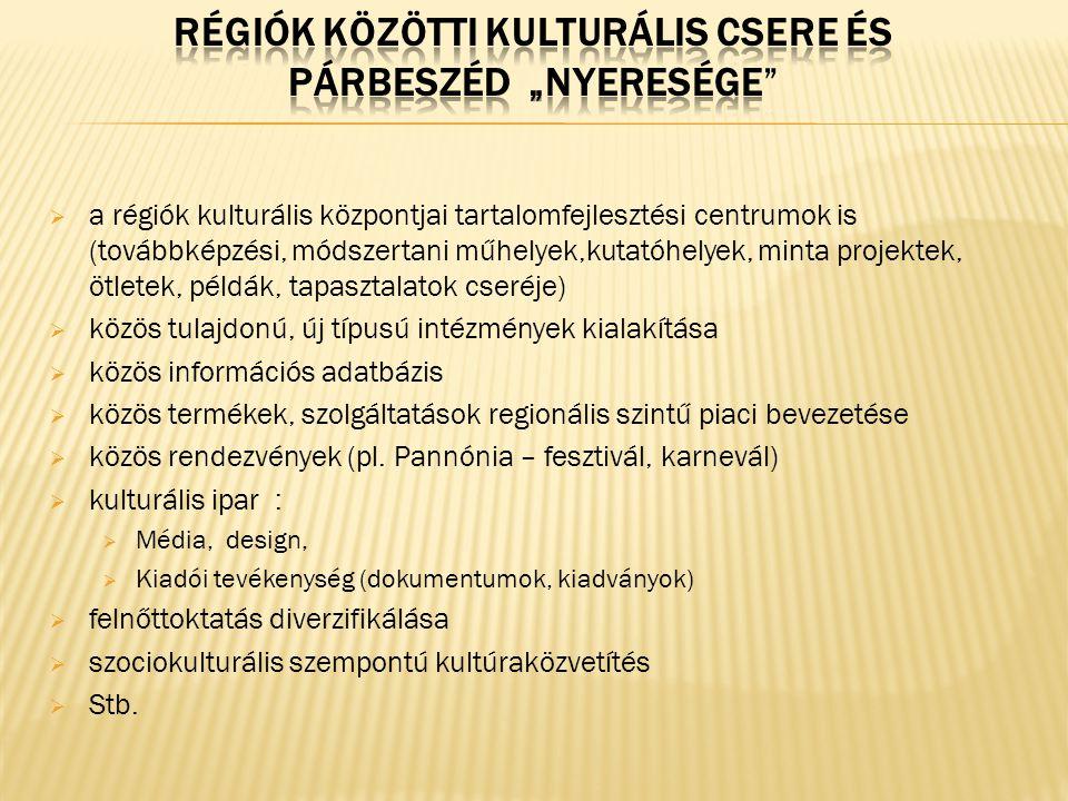  a régiók kulturális központjai tartalomfejlesztési centrumok is (továbbképzési, módszertani műhelyek,kutatóhelyek, minta projektek, ötletek, példák, tapasztalatok cseréje)  közös tulajdonú, új típusú intézmények kialakítása  közös információs adatbázis  közös termékek, szolgáltatások regionális szintű piaci bevezetése  közös rendezvények (pl.
