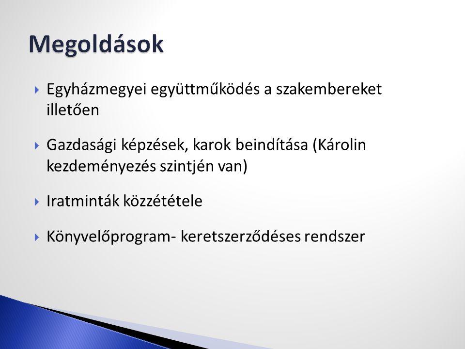  Egyházmegyei együttműködés a szakembereket illetően  Gazdasági képzések, karok beindítása (Károlin kezdeményezés szintjén van)  Iratminták közzététele  Könyvelőprogram- keretszerződéses rendszer