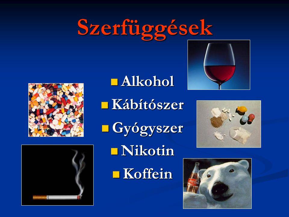 Szerfüggések  Alkohol  Kábítószer  Gyógyszer  Nikotin  Koffein