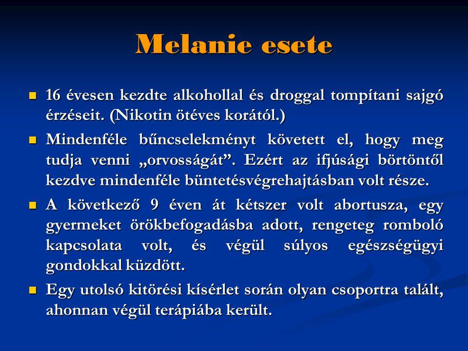 Melanie esete  16 évesen kezdte alkohollal és droggal tompítani sajgó érzéseit. (Nikotin ötéves korától.)  Mindenféle bűncselekményt követett el, ho