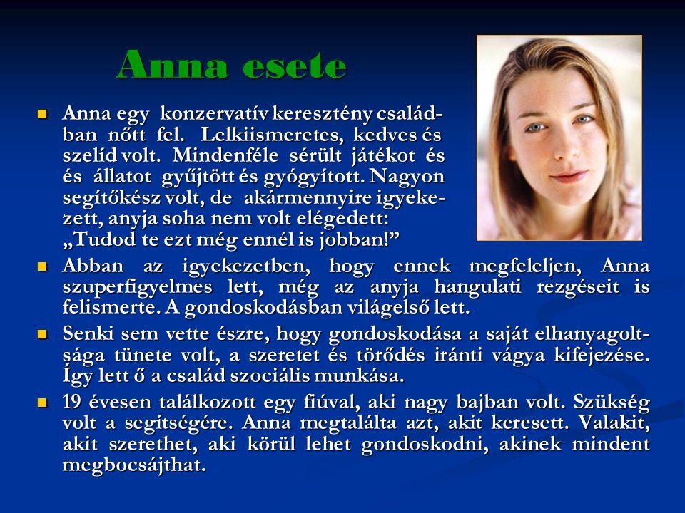 Anna esete  Anna egy konzervatív keresztény család- ban nőtt fel. Lelkiismeretes, kedves és szelíd volt. Mindenféle sérült játékot és és állatot gyűj
