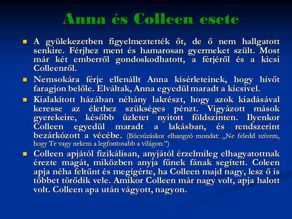 Anna és Colleen esete  A gyülekezetben figyelmeztették őt, de ő nem hallgatott senkire. Férjhez ment és hamarosan gyermeket szült. Most már két ember