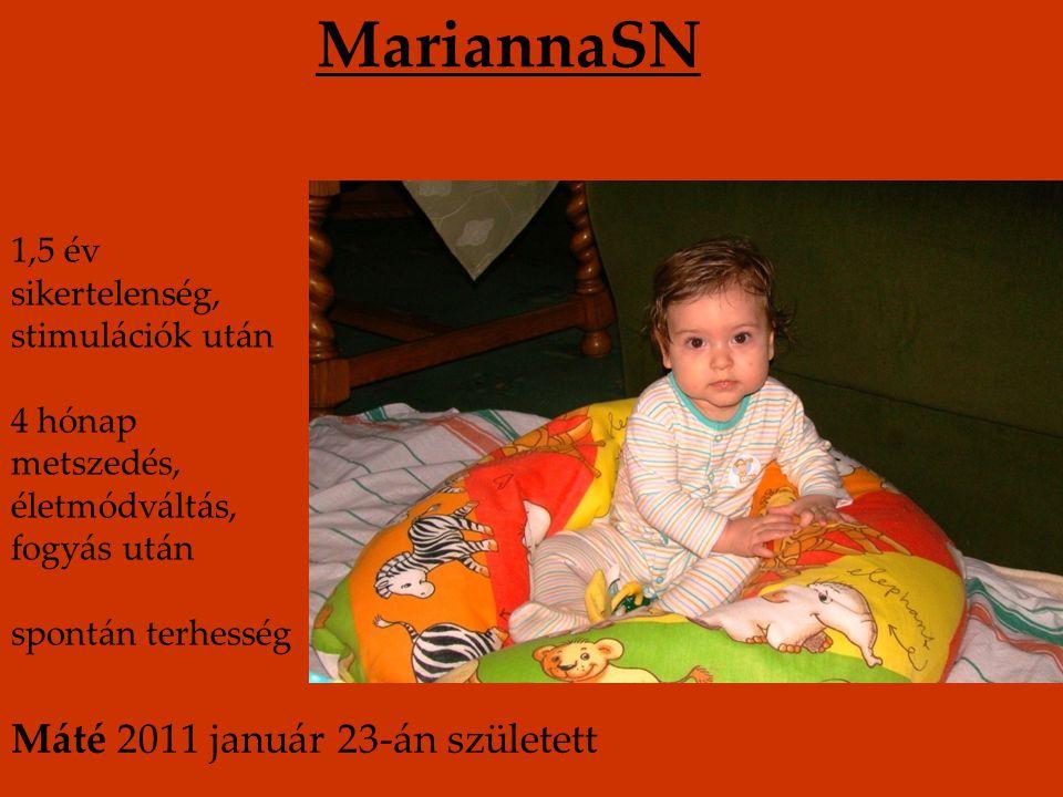 MariannaSN 1,5 év sikertelenség, stimulációk után 4 hónap metszedés, életmódváltás, fogyás után spontán terhesség Máté 2011 január 23-án született