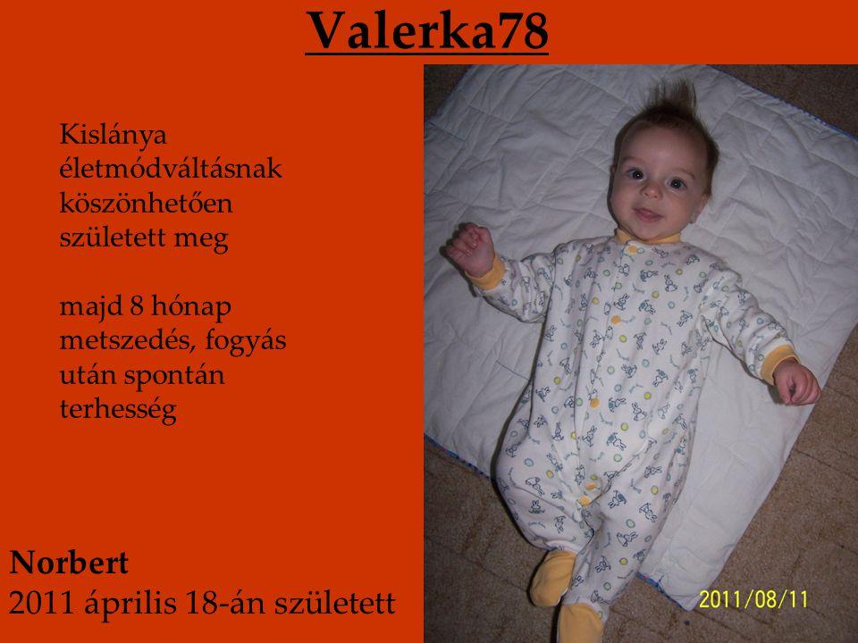 Valerka78 Kislánya életmódváltásnak köszönhetően született meg majd 8 hónap metszedés, fogyás után spontán terhesség Norbert 2011 április 18-án született