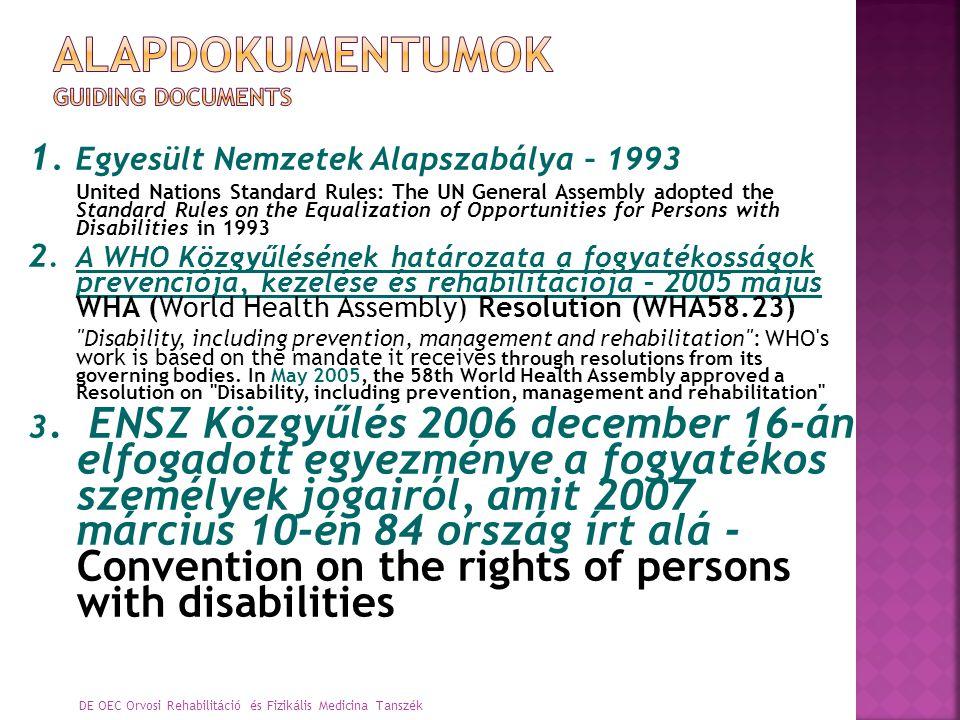 A fogyatékos személyek magukban foglalják azokat, akik tartós testi, mentális, intellektuális vagy érzékszervi károsodással élnek, amik, a különféle akadályokkal való kölcsönhatásuk révén gátolják a többi személlyel azonos módon való teljes és hatékony részvételüket a társadalomban. Convention on the Rights of Persons with Disabilities and Optional Protocol http://www.un.org/esa/socdev/enable/conventioninf o.htm DE OEC Orvosi Rehabilitáció és Fizikális Medicina Tanszék