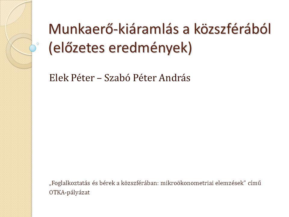 """Munkaerő-kiáramlás a közszférából (előzetes eredmények) Elek Péter – Szabó Péter András """"Foglalkoztatás és bérek a közszférában: mikroökonometriai ele"""
