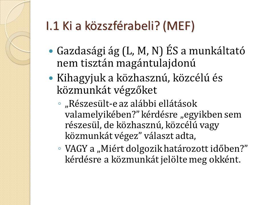I.1 Ki a közszférabeli? (MEF)  Gazdasági ág (L, M, N) ÉS a munkáltató nem tisztán magántulajdonú  Kihagyjuk a közhasznú, közcélú és közmunkát végzők