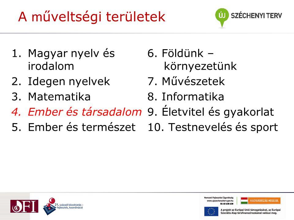 A m űveltségi területek 1.Magyar nyelv és irodalom 2.Idegen nyelvek 3.Matematika 4.Ember és társadalom 5.Ember és természet 6.