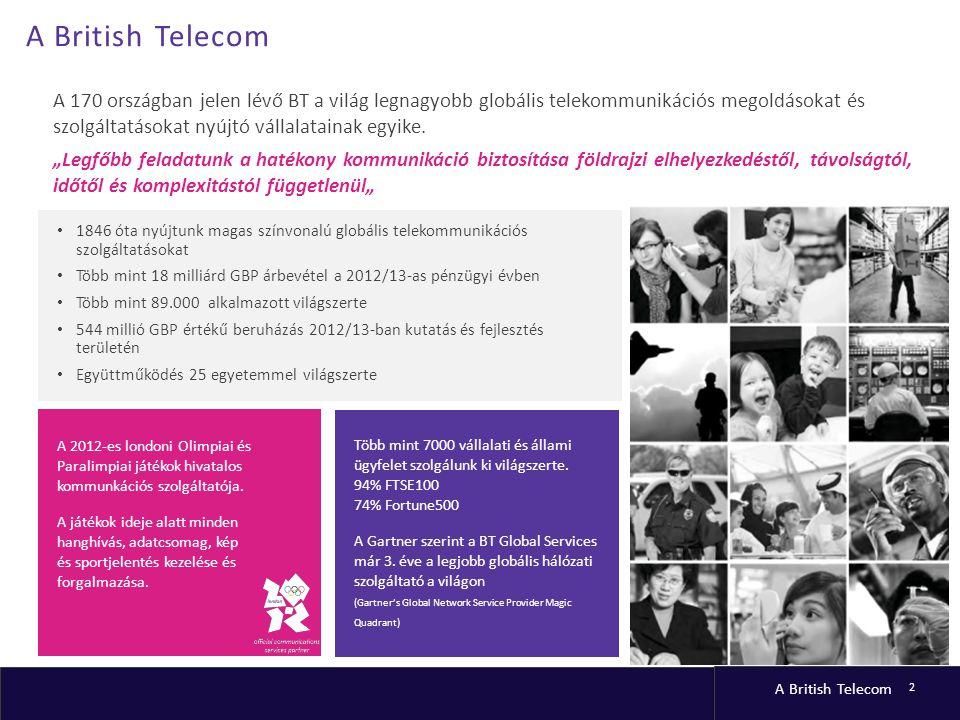 A British Telecom 2 A 170 országban jelen lévő BT a világ legnagyobb globális telekommunikációs megoldásokat és szolgáltatásokat nyújtó vállalatainak egyike.