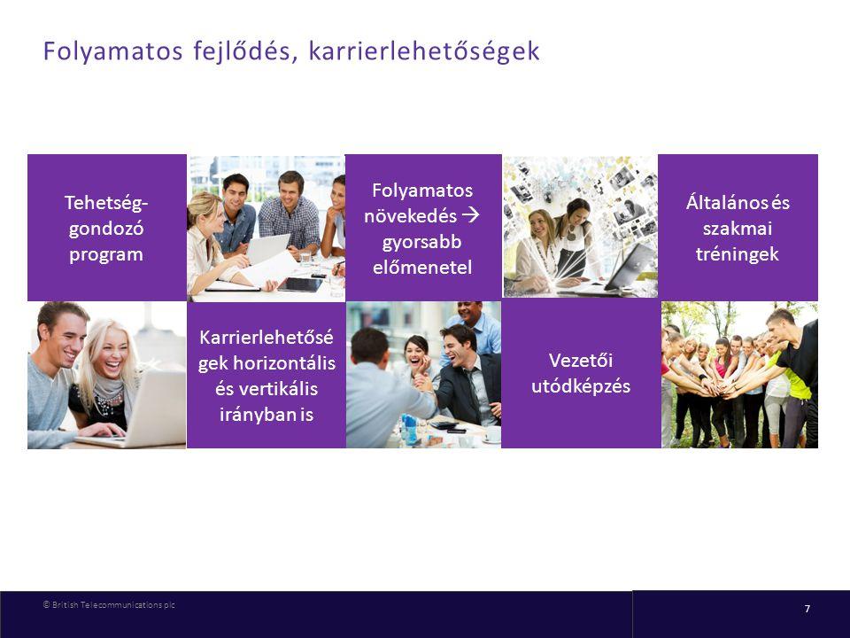 © British Telecommunications plc 7 Folyamatos fejlődés, karrierlehetőségek Tehetség- gondozó program Folyamatos növekedés  gyorsabb előmenetel Karrie