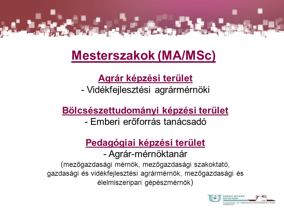 Mesterszakok (MA/MSc) Agrár képzési terület - Vidékfejlesztési agrármérnöki Bölcsészettudományi képzési terület - Emberi erőforrás tanácsadó Pedagógia