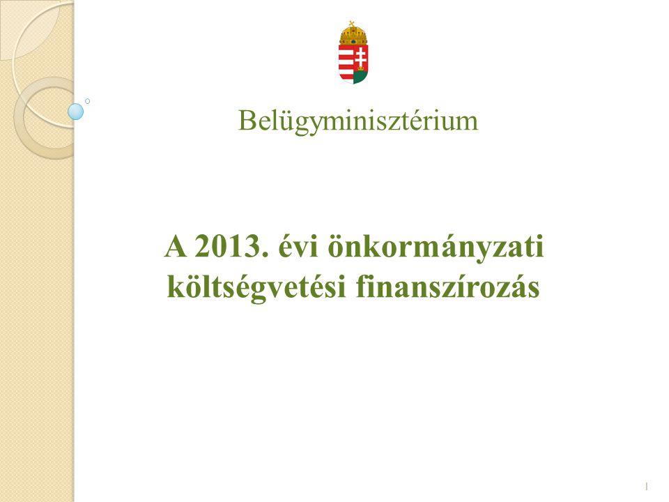 Belügyminisztérium A 2013. évi önkormányzati költségvetési finanszírozás 1