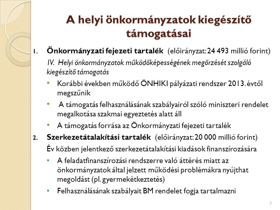 A helyi önkormányzatok kiegészítő támogatásai 1. Önkormányzati fejezeti tartalék (előirányzat: 24 493 millió forint) IV. Helyi önkormányzatok működőké