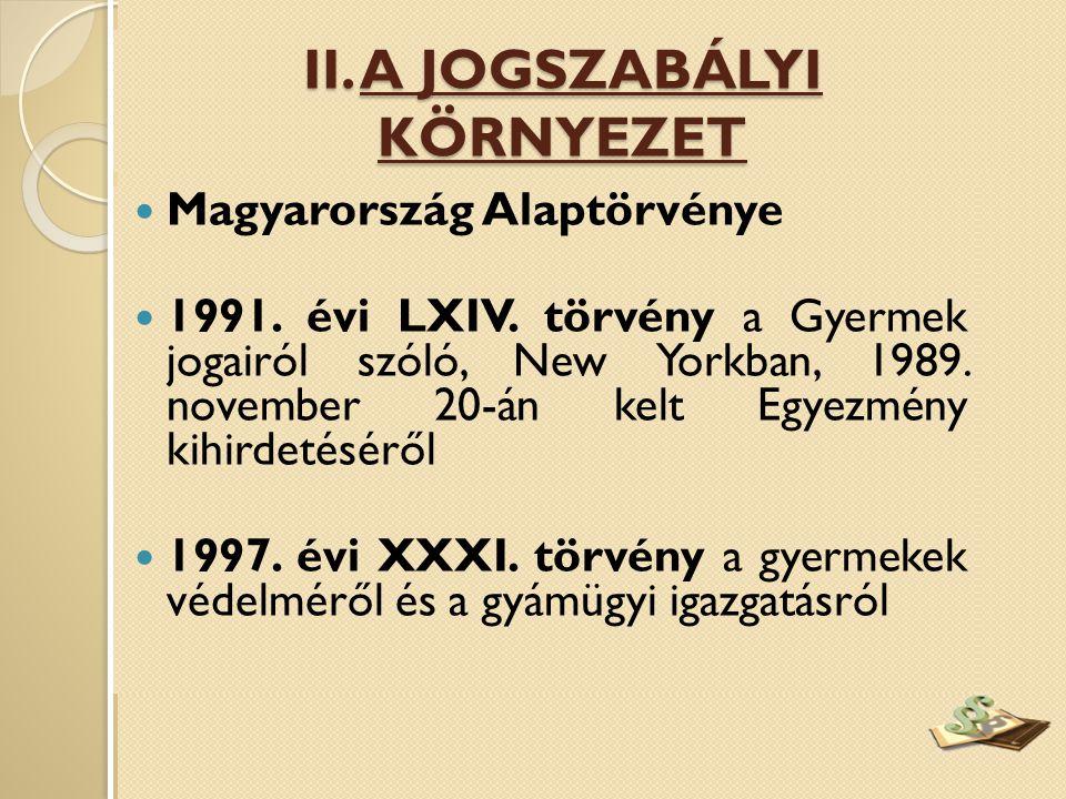  Magyarország Alaptörvénye  1991. évi LXIV. törvény a Gyermek jogairól szóló, New Yorkban, 1989. november 20-án kelt Egyezmény kihirdetéséről  1997