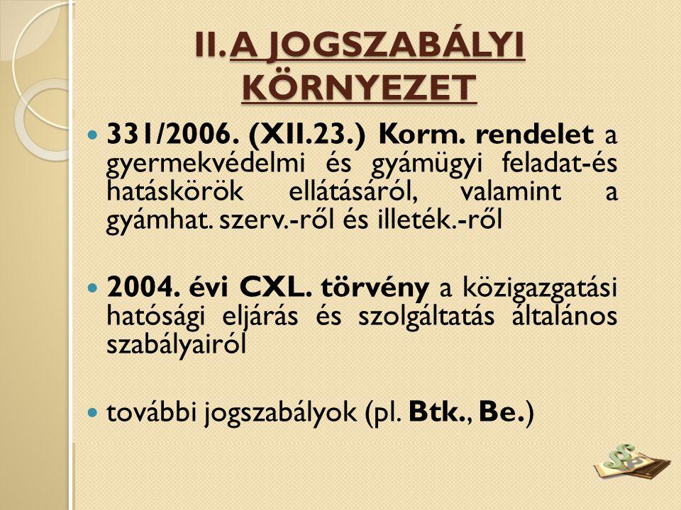  331/2006. (XII.23.) Korm. rendelet a gyermekvédelmi és gyámügyi feladat-és hatáskörök ellátásáról, valamint a gyámhat. szerv.-ről és illeték.-ről 