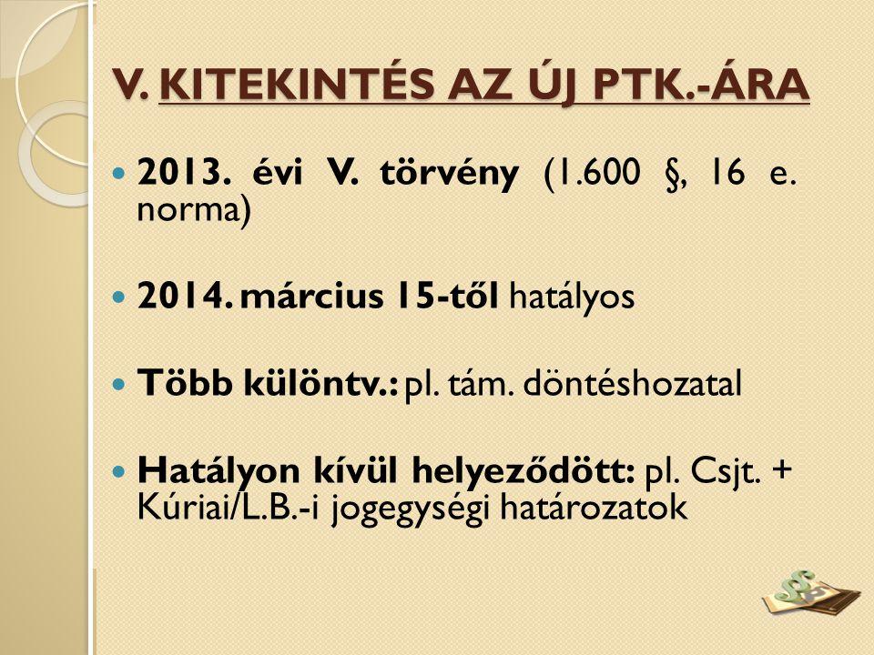  2013. évi V. törvény (1.600 §, 16 e. norma)  2014. március 15-től hatályos  Több különtv.: pl. tám. döntéshozatal  Hatályon kívül helyeződött: pl