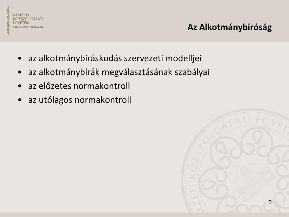 Az Alkotmánybíróság •az alkotmánybíráskodás szervezeti modelljei •az alkotmánybírák megválasztásának szabályai •az előzetes normakontroll •az utólagos