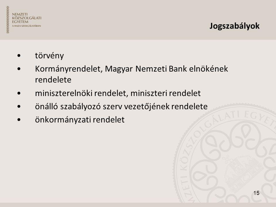 Jogszabályok •törvény •Kormányrendelet, Magyar Nemzeti Bank elnökének rendelete •miniszterelnöki rendelet, miniszteri rendelet •önálló szabályozó szer