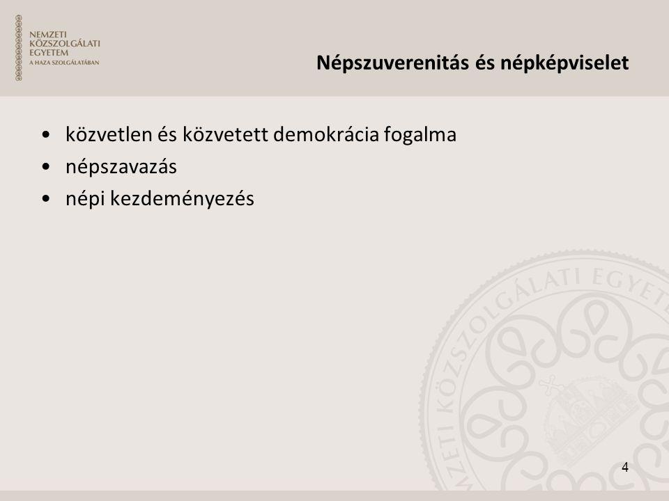 Népszuverenitás és népképviselet •közvetlen és közvetett demokrácia fogalma •népszavazás •népi kezdeményezés 4