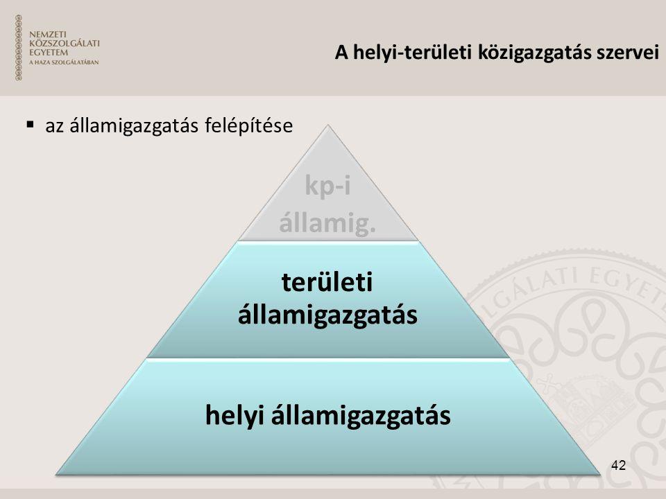 42 kp-i államig. területi államigazgatás helyi államigazgatás A helyi-területi közigazgatás szervei  az államigazgatás felépítése