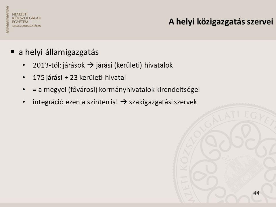 A helyi közigazgatás szervei  a helyi államigazgatás • 2013-tól: járások  járási (kerületi) hivatalok • 175 járási + 23 kerületi hivatal • = a megye