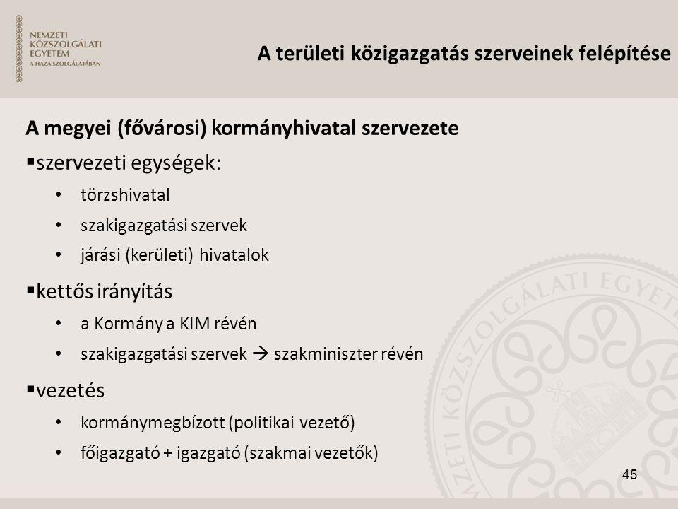 A területi közigazgatás szerveinek felépítése A megyei (fővárosi) kormányhivatal szervezete  szervezeti egységek: • törzshivatal • szakigazgatási sze