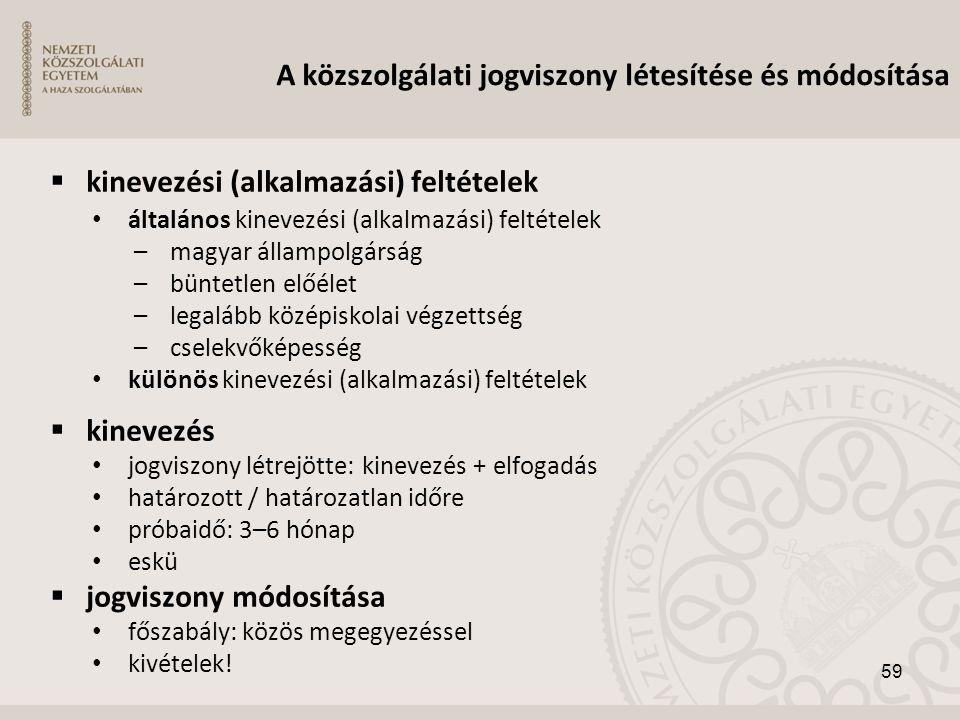  kinevezési (alkalmazási) feltételek • általános kinevezési (alkalmazási) feltételek –magyar állampolgárság –büntetlen előélet –legalább középiskolai