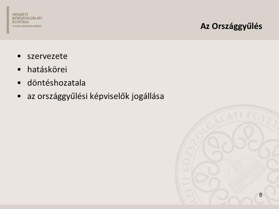 Az Országgyűlés •szervezete •hatáskörei •döntéshozatala •az országgyűlési képviselők jogállása 6