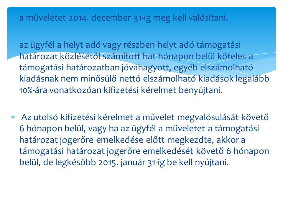  a műveletet 2014. december 31-ig meg kell valósítani.  az ügyfél a helyt adó vagy részben helyt adó támogatási határozat közlésétől számított hat h