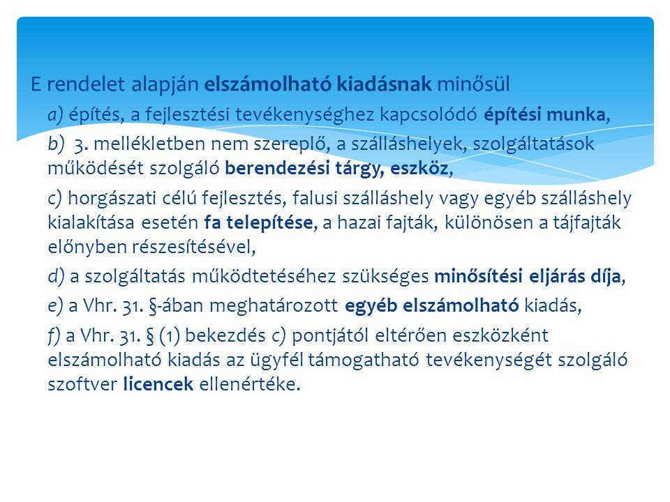 E rendelet alapján elszámolható kiadásnak minősül a) építés, a fejlesztési tevékenységhez kapcsolódó építési munka, b) 3. mellékletben nem szereplő, a