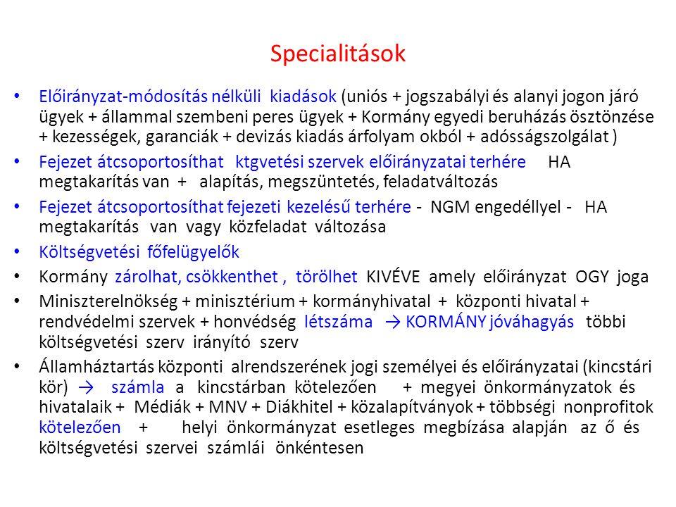 Specialitások • Előirányzat-módosítás nélküli kiadások (uniós + jogszabályi és alanyi jogon járó ügyek + állammal szembeni peres ügyek + Kormány egyed