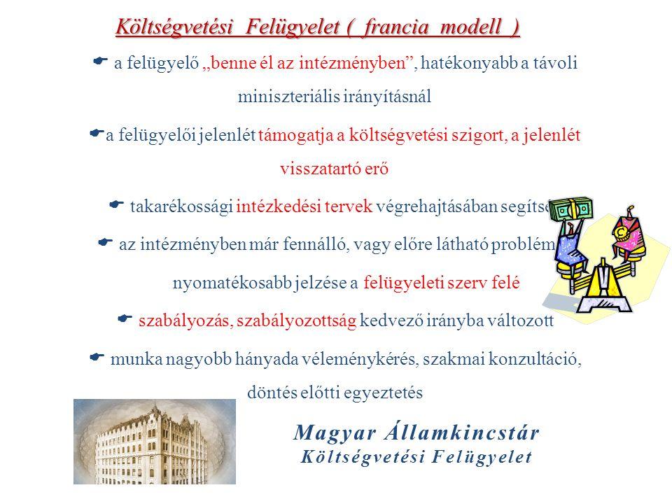 """Magyar Államkincstár Költségvetési Felügyelet Költségvetési Felügyelet ( francia modell )  a felügyelő """"benne él az intézményben"""", hatékonyabb a távo"""