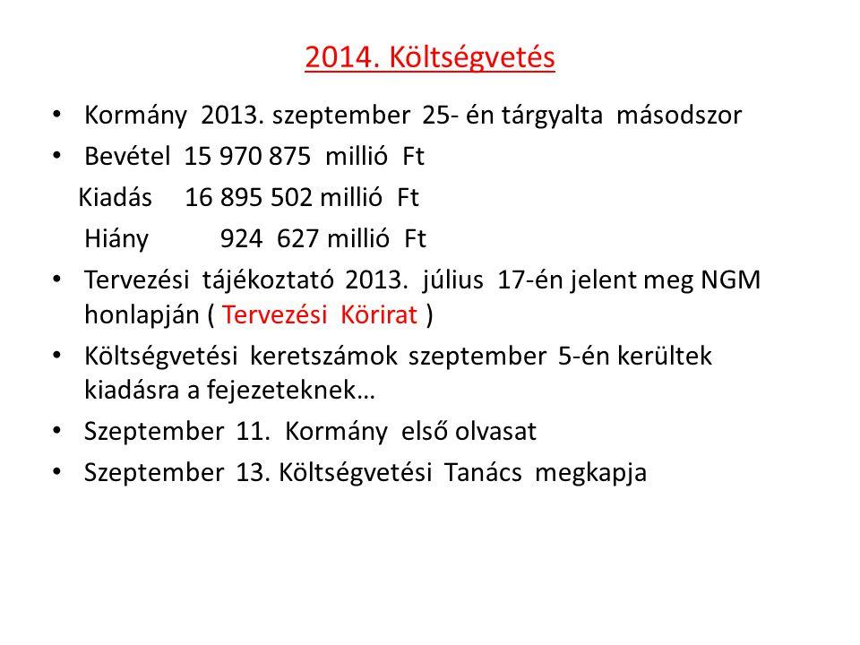 2014. Költségvetés • Kormány 2013. szeptember 25- én tárgyalta másodszor • Bevétel 15 970 875 millió Ft Kiadás 16 895 502 millió Ft Hiány 924 627 mill