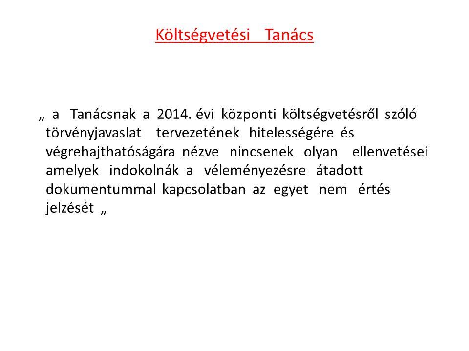 """Költségvetési Tanács """" a Tanácsnak a 2014. évi központi költségvetésről szóló törvényjavaslat tervezetének hitelességére és végrehajthatóságára nézve"""