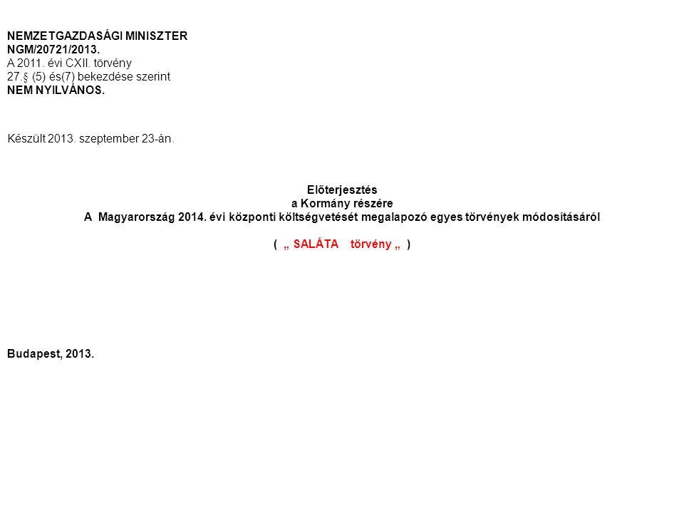 NEMZETGAZDASÁGI MINISZTER NGM/20721/2013. A 2011. évi CXII. törvény 27.§ (5) és(7) bekezdése szerint NEM NYILVÁNOS. Készült 2013. szeptember 23-án. El