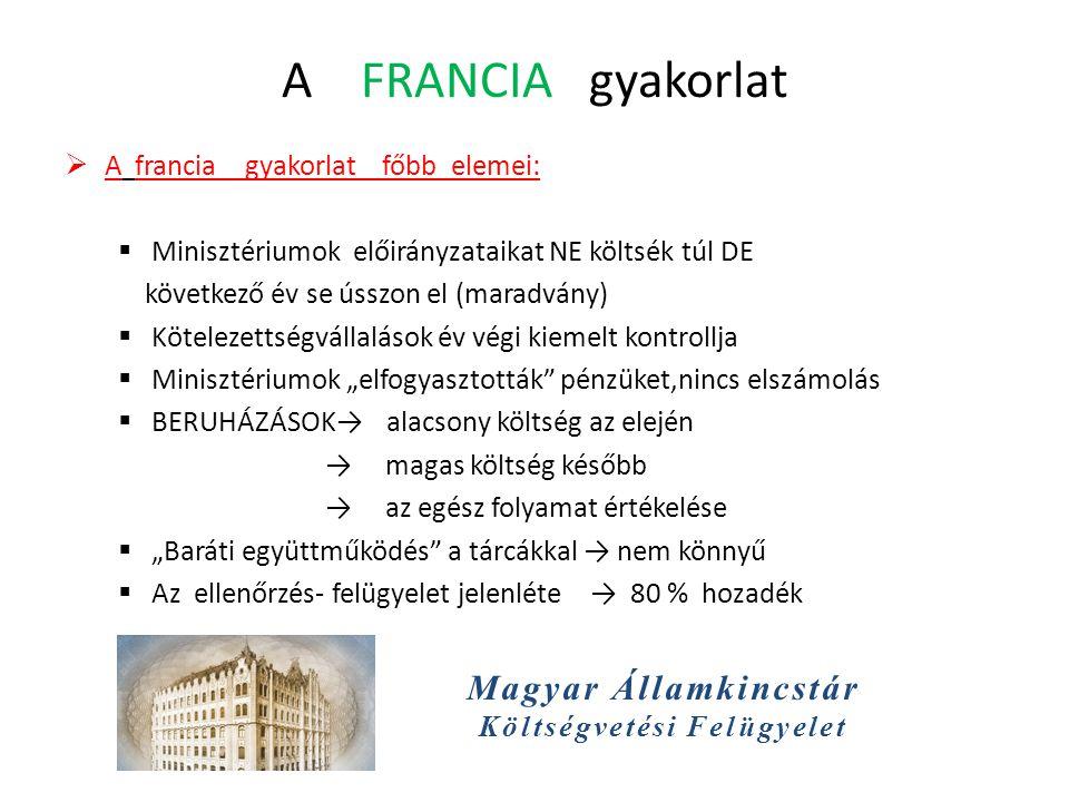 Magyar Államkincstár Költségvetési Felügyelet A FRANCIA gyakorlat  A francia gyakorlat főbb elemei:  Minisztériumok előirányzataikat NE költsék túl