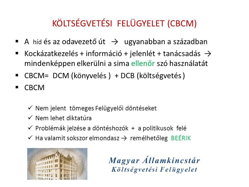 Magyar Államkincstár Költségvetési Felügyelet KÖLTSÉGVETÉSI FELÜGYELET (CBCM)  A híd és az odavezető út → ugyanabban a században  Kockázatkezelés +