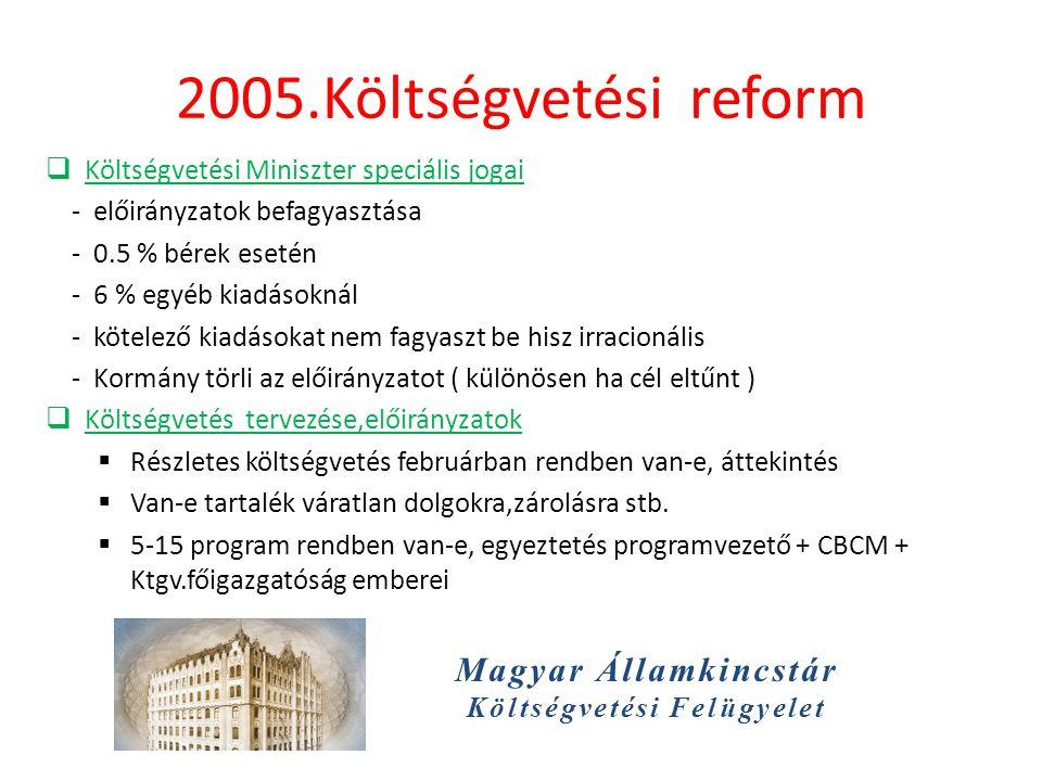 Magyar Államkincstár Költségvetési Felügyelet 2005.Költségvetési reform  Költségvetési Miniszter speciális jogai - előirányzatok befagyasztása - 0.5