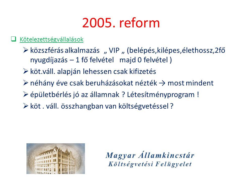 """Magyar Államkincstár Költségvetési Felügyelet 2005. reform  Kötelezettségvállalások  közszférás alkalmazás """" VIP """" (belépés,kilépes,élethossz,2fő ny"""