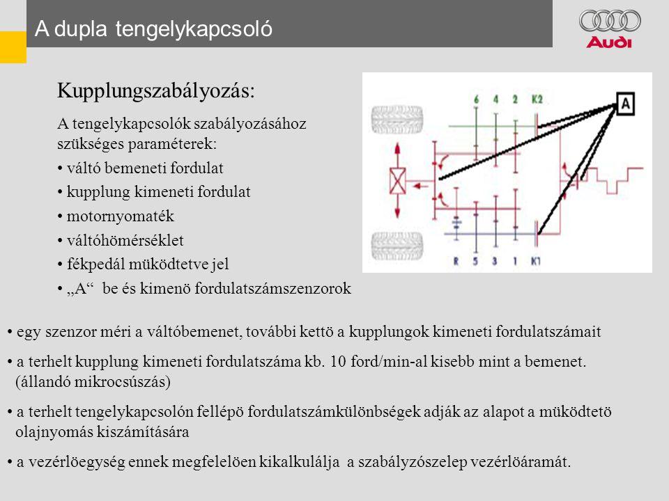 """A dupla tengelykapcsoló Kupplungszabályozás: A tengelykapcsolók szabályozásához szükséges paraméterek: • váltó bemeneti fordulat • kupplung kimeneti fordulat • motornyomaték • váltóhömérséklet • fékpedál müködtetve jel • """"A be és kimenö fordulatszámszenzorok • egy szenzor méri a váltóbemenet, további kettö a kupplungok kimeneti fordulatszámait • a terhelt kupplung kimeneti fordulatszáma kb."""